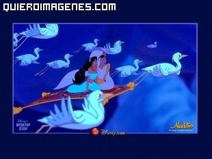 Aladín y Jazmin surcando los cielos