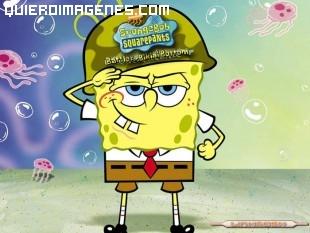 Bob Esponja vestido de soldado