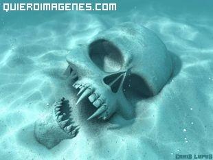 Calavera de vampiro en el fondo del mar