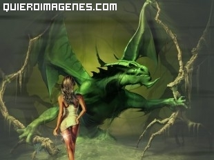 Dragón contra mujer