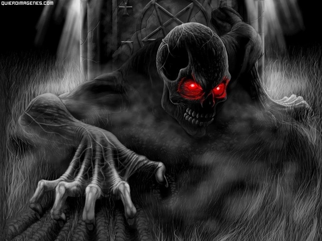 Esqueleto de ojos rojos