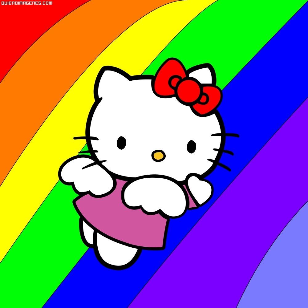 Kitty volando sobre el arcoiris