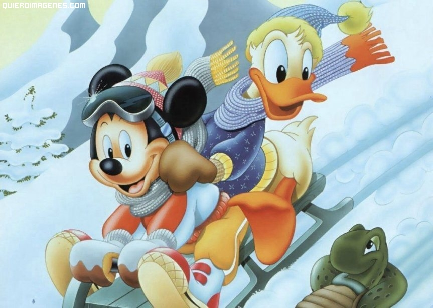 Mickey y Donald en Trineo