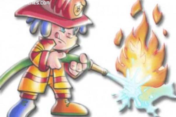 Bombero apagando el fuego