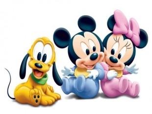 Mickey, Pluto y Minnie de bebés
