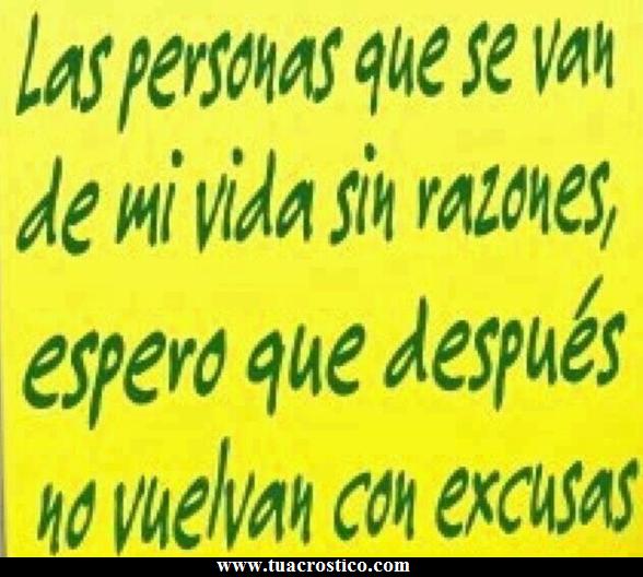 Volver con excusas...