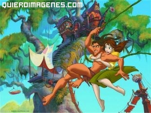 Tarzán y Jane van a su casita de los árboles