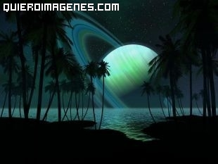 Saturno en un playa paradisíaca