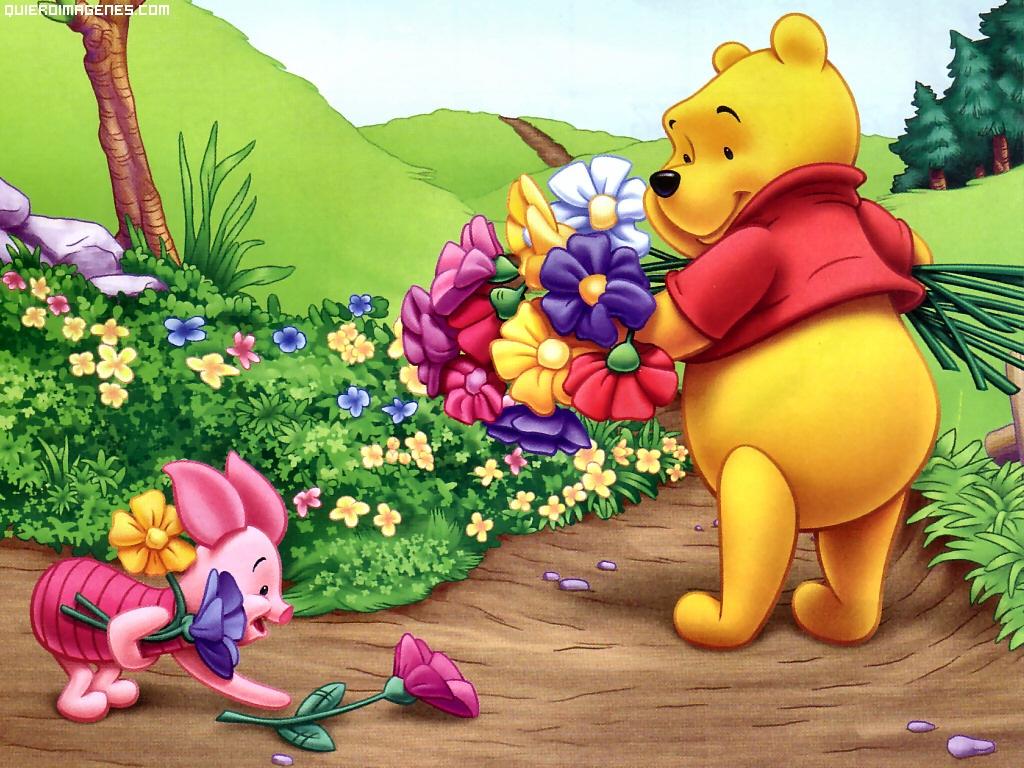 Winnie The Pooh recogiendo flores