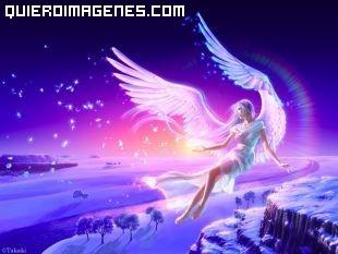 Mujer angel sobre paisaje invernal