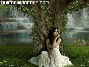 Sentada bajo el árbol