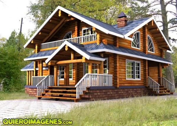 Elegante casa de madera - Finestre stile americano ...