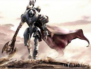 Guerrero robot avanza en el desierto
