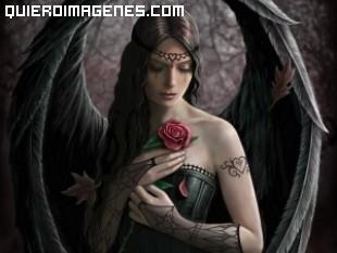 Angel apenado con rosa en el pecho