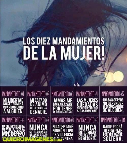 Los 10 mandamientos de las mujeres
