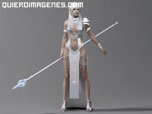Bella guerrera elfa con lanza