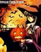 Bruja de manga en la noche de Halloween