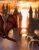 Dragón y una fortaleza