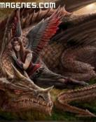 Dragón y guerrera