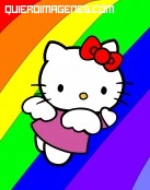 Hello Kitty volando sobre el arco-iris