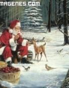 Papá Noel rodeado de animales