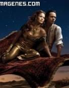 Jennifer López y Marc Anthony volando en alfombra mágica