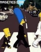 Familia Simpson cruzando la calle