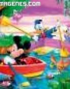 Mickey, Minie y Donald en el lago