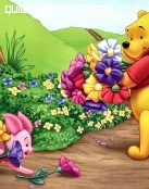 Winnie The Pooh recogiendo flores