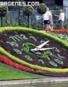 Escultura vegetal de un reloj