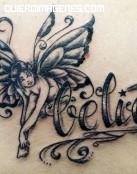 Tatuaje de hada con mensaje