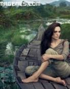Espectacular paisaje con Angelina Jolie
