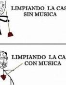 Limpiando con y sin música