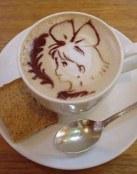 Niña dibujada en el café