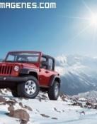 Amanecer con un Land Rover en la nieve