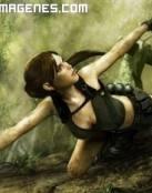 Lara Croft escalando un acantilado