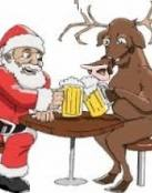 Papa Noel y el reno se divierten