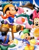 Mickey y Minnie en la nieve