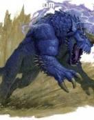 Criatura azul al galope