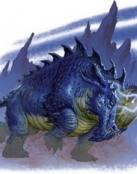 Monstruo azul con cuernos