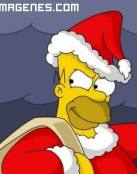 Homer Simpsons vestido de Papá Noël
