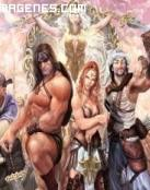Conan rodeado de amigos